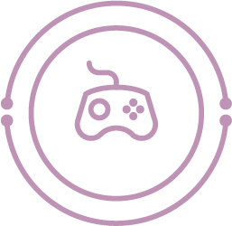 icon: game controller similar to xbox; surrounded by circuitry-inspired circles