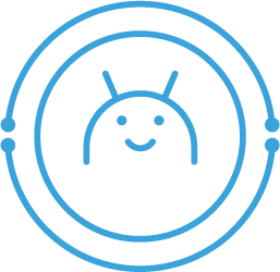 icon: friendly android alien face; surrounded by circuitry-inspired circles