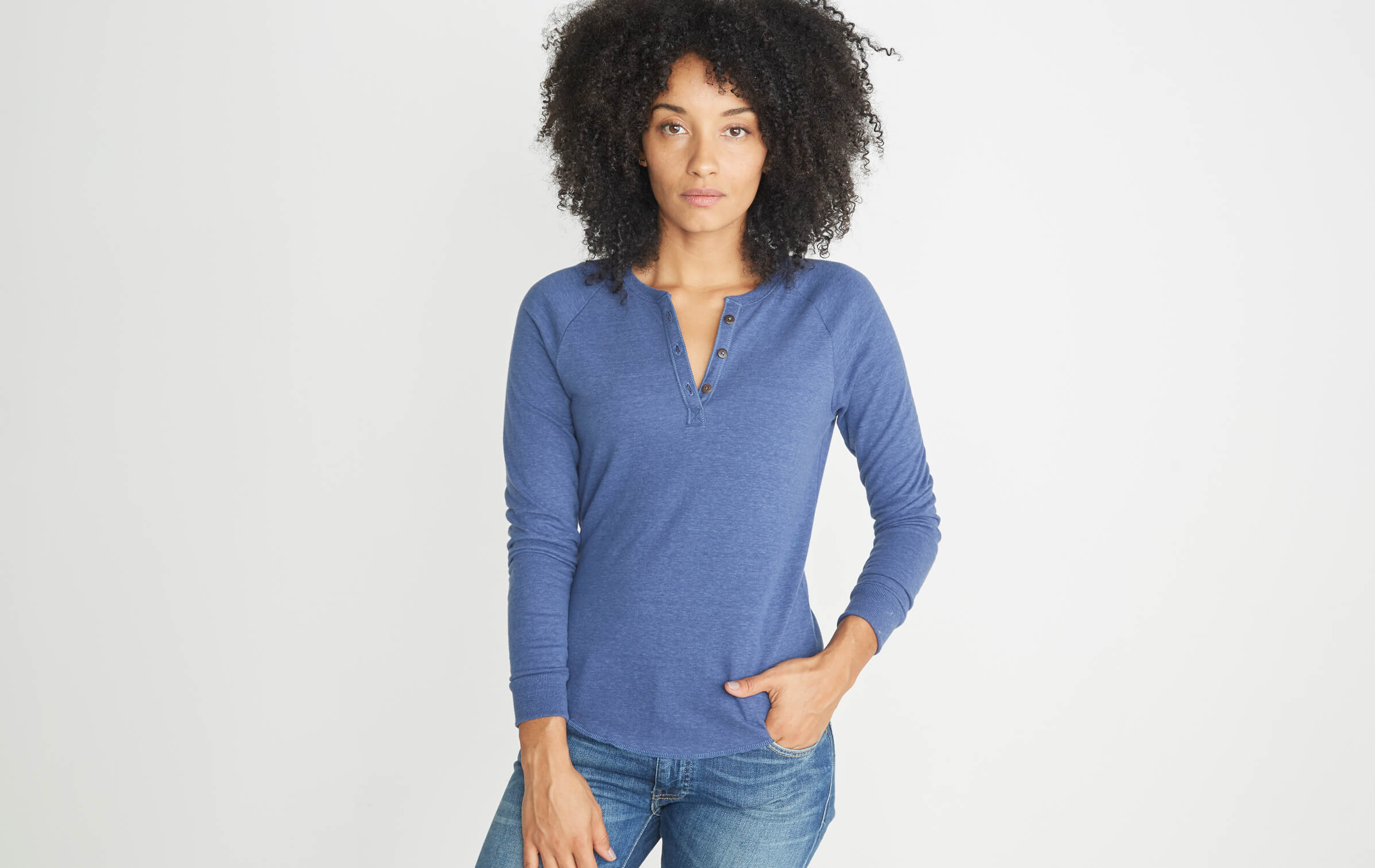 Double Knit Henley in Twilight – Marine Layer