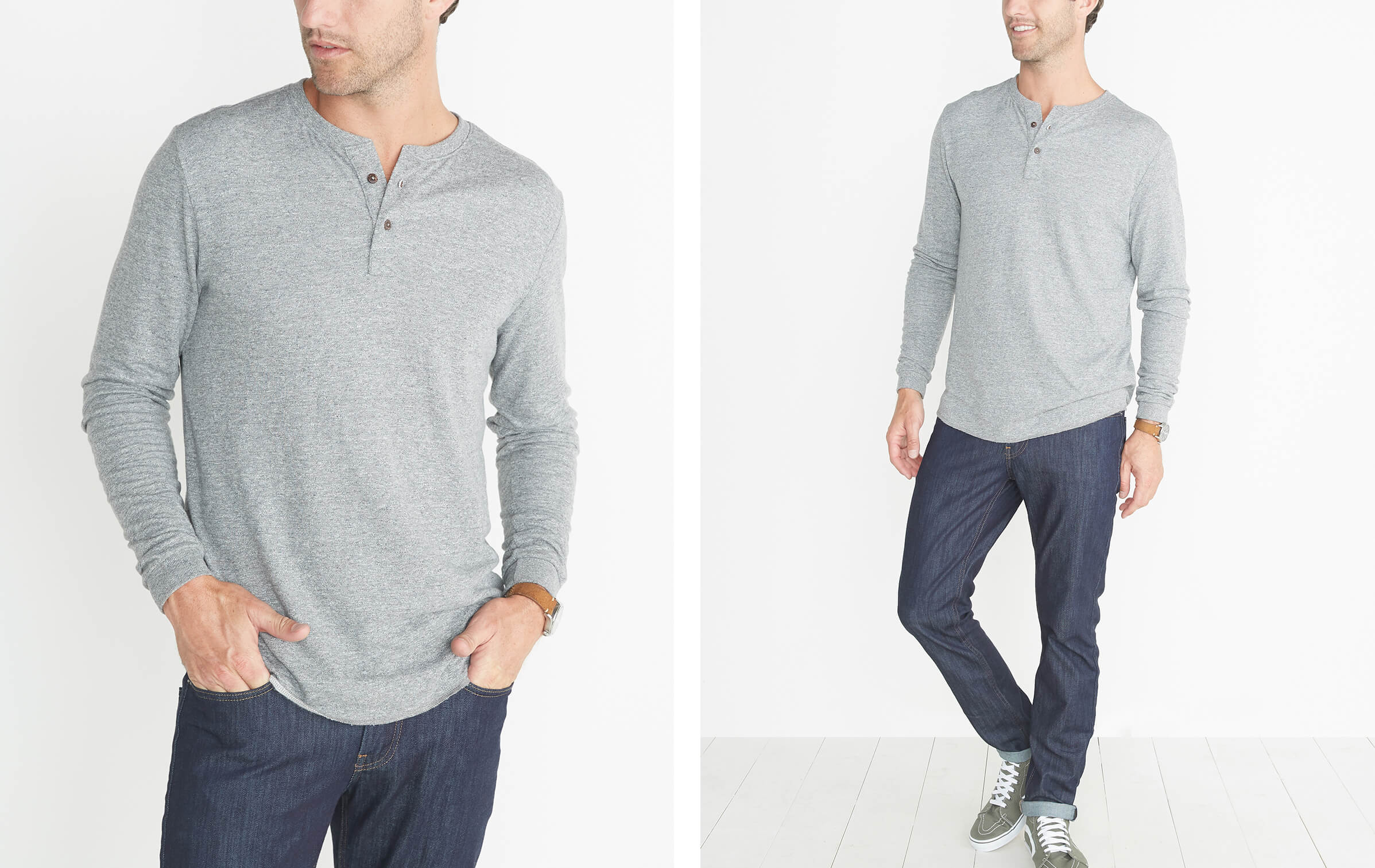 Double Knit Henley in Heather Grey – Marine Layer