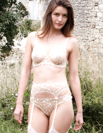 Angel Face | Nude Lace Stars Luxury Designer Lingerie Set Bra Braguitas