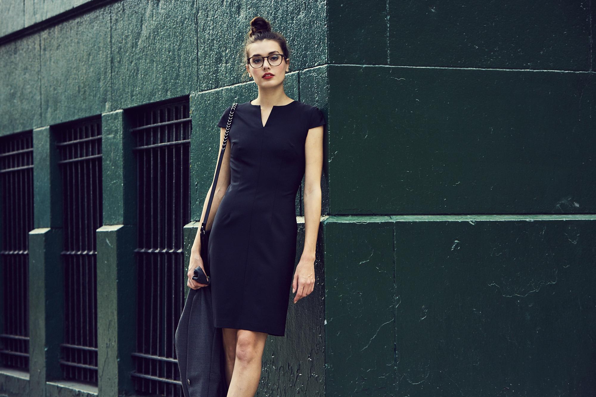 Of Mercer Hudson Cap Sleeved Black Sheath Work Dress