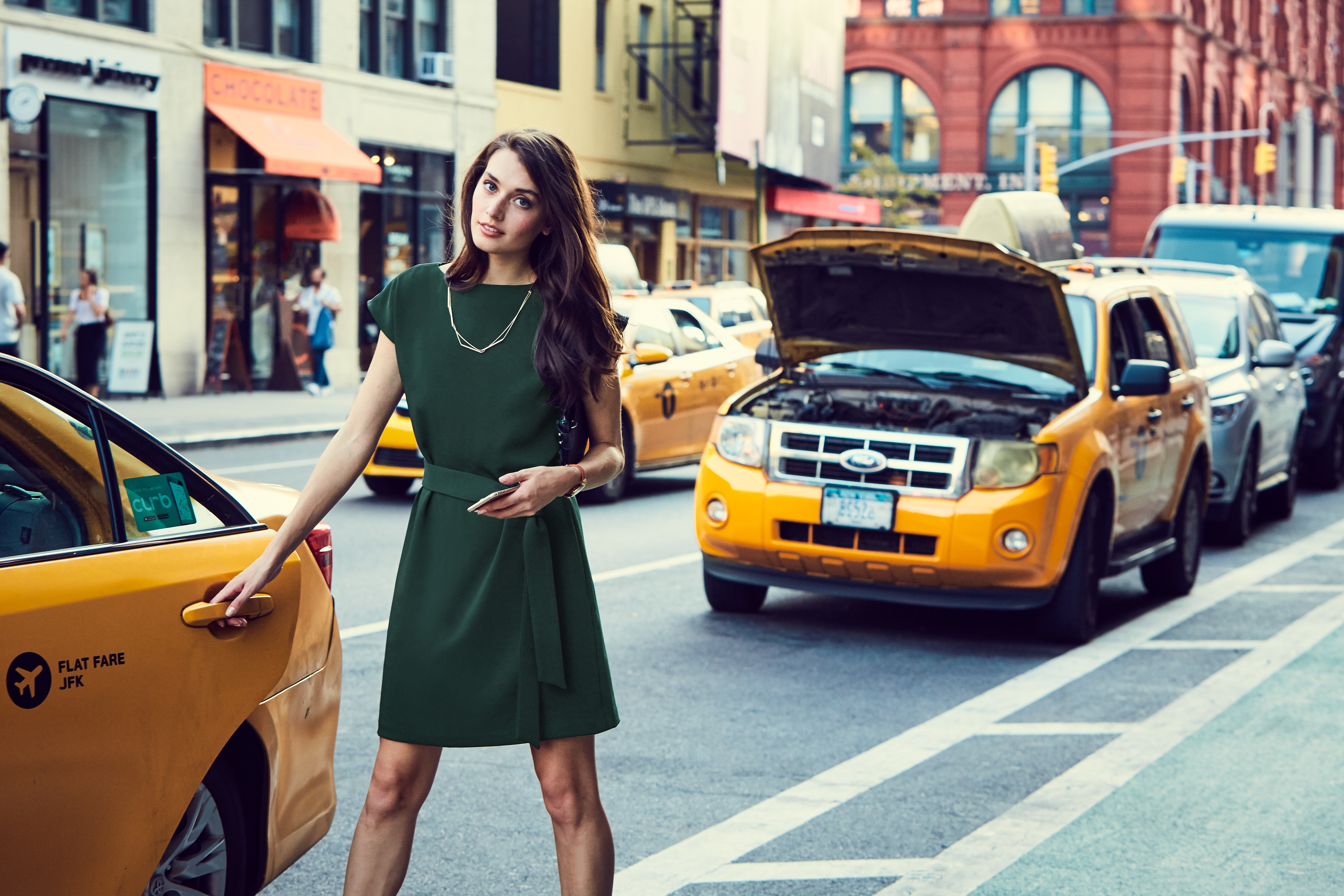 Of Mercer | Green Riverside Tied Work Dress | Street Chic