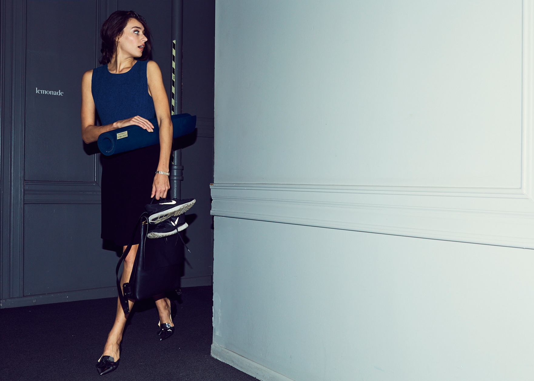 Of Mercer | Blue and Black Colorblocked Work Dress