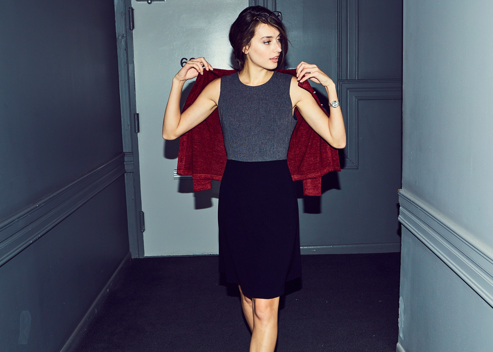 Of Mercer | Grey and Black Colorblock Work Dress