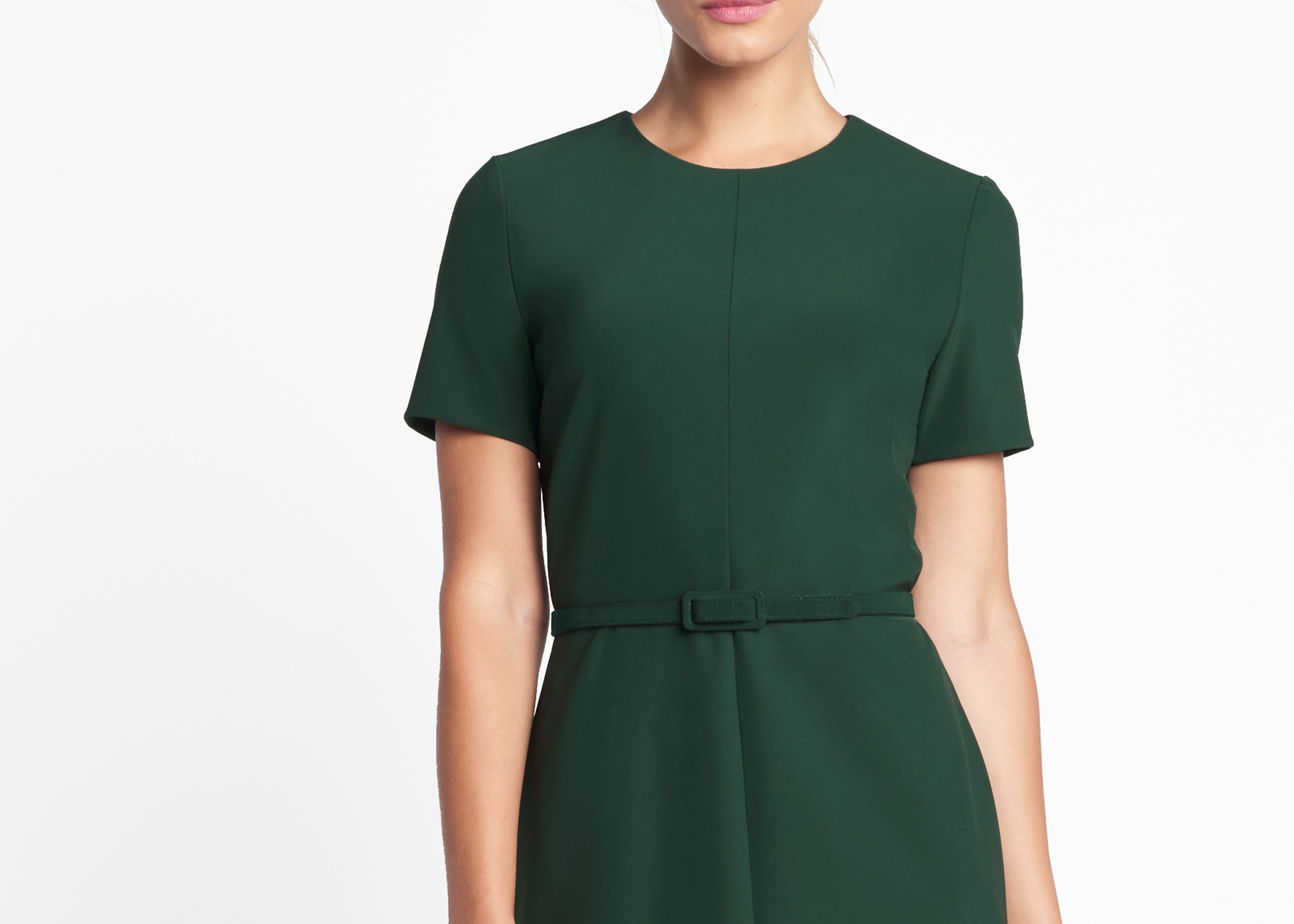 Of Mercer Green Dupont Dress Detail