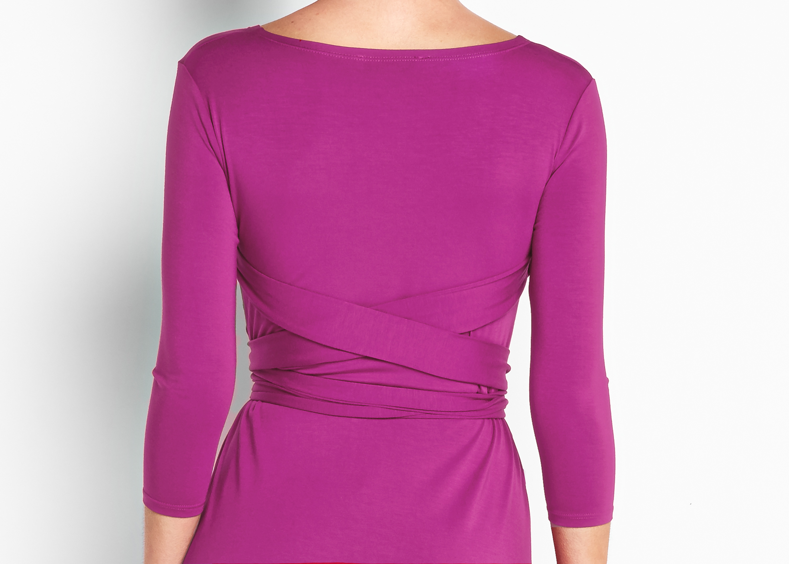 Of Mercer | Fuchsia Sutton Wrap Dress | Detail Shot