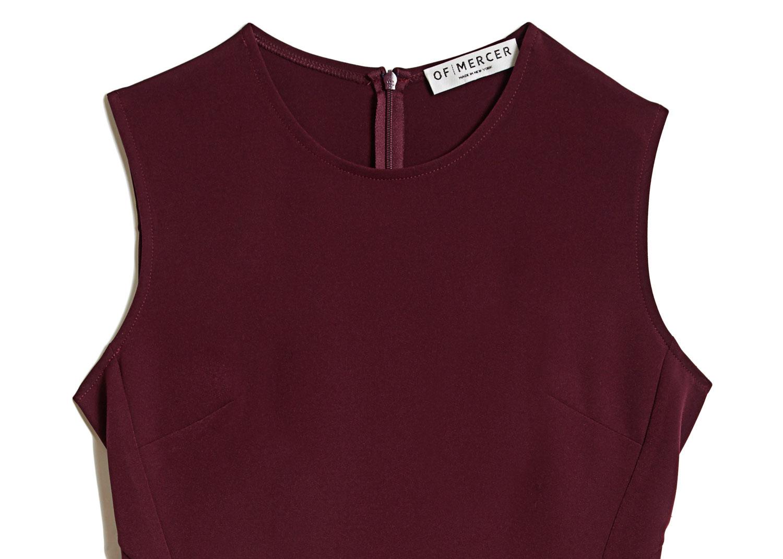 Of Mercer | Burgundy Bedford Dress | Detail Shot