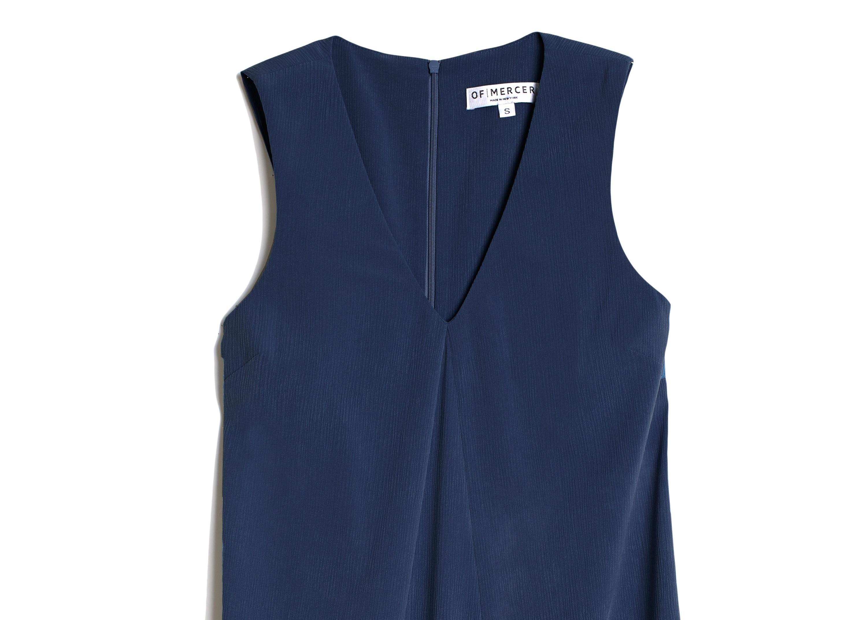 Of Mercer | Blue Mulberry Dress | Detail Shot