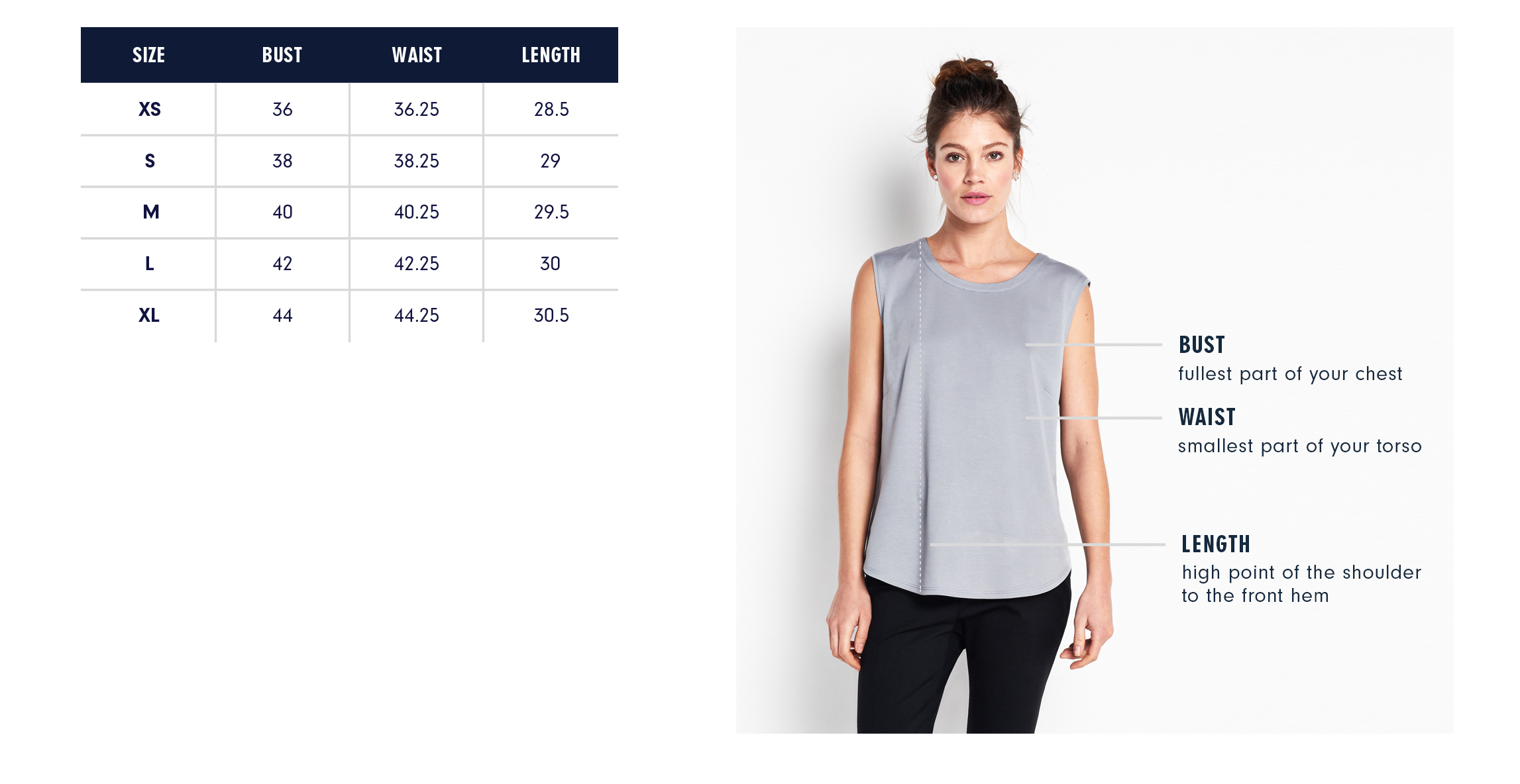 Of Mercer | Chrystie Top | Size Guide