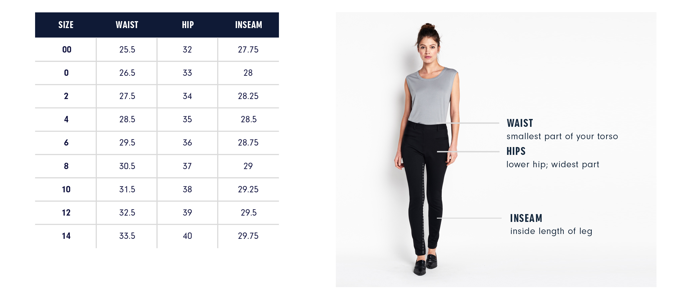 Of Mercer | Essex Skinny Pants | Size Guide