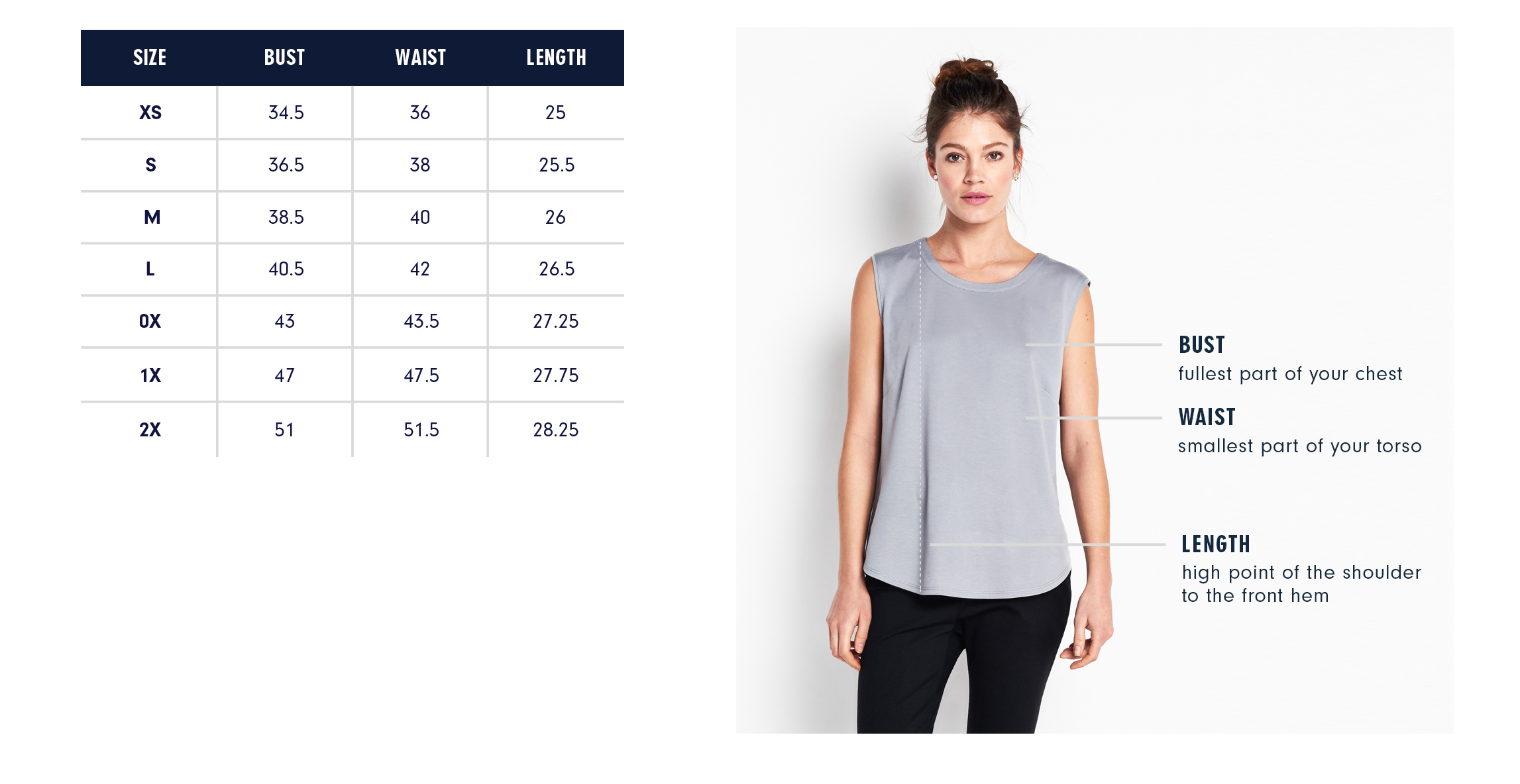 Of Mercer | Elizabeth Top | Size Guide