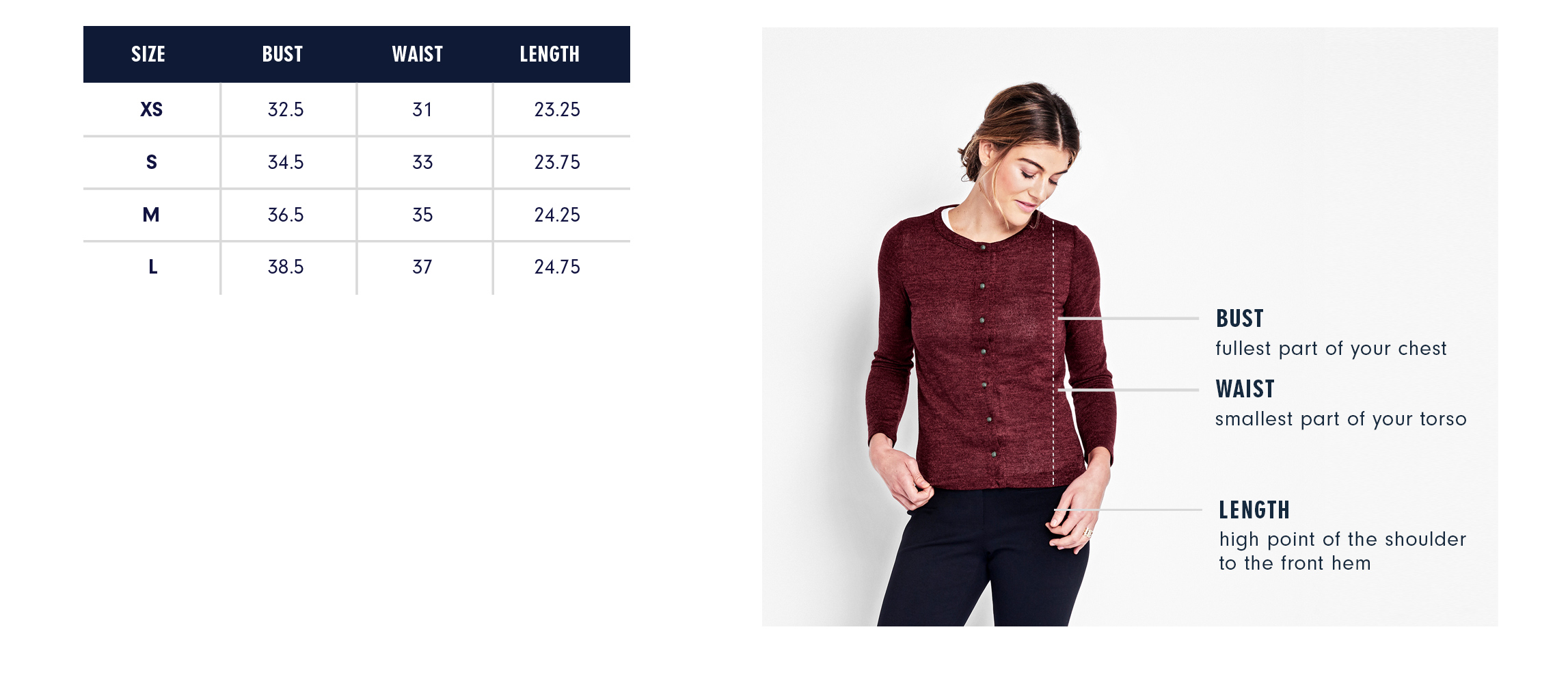 Of Mercer | Whitney Cardigan | Size Guide