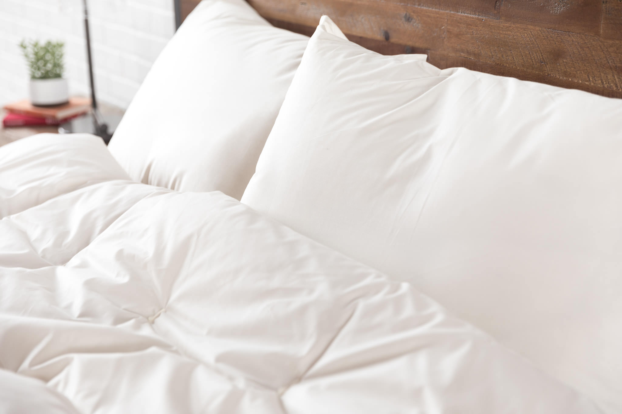 Wool Comforter and Wool Pillows on Bed