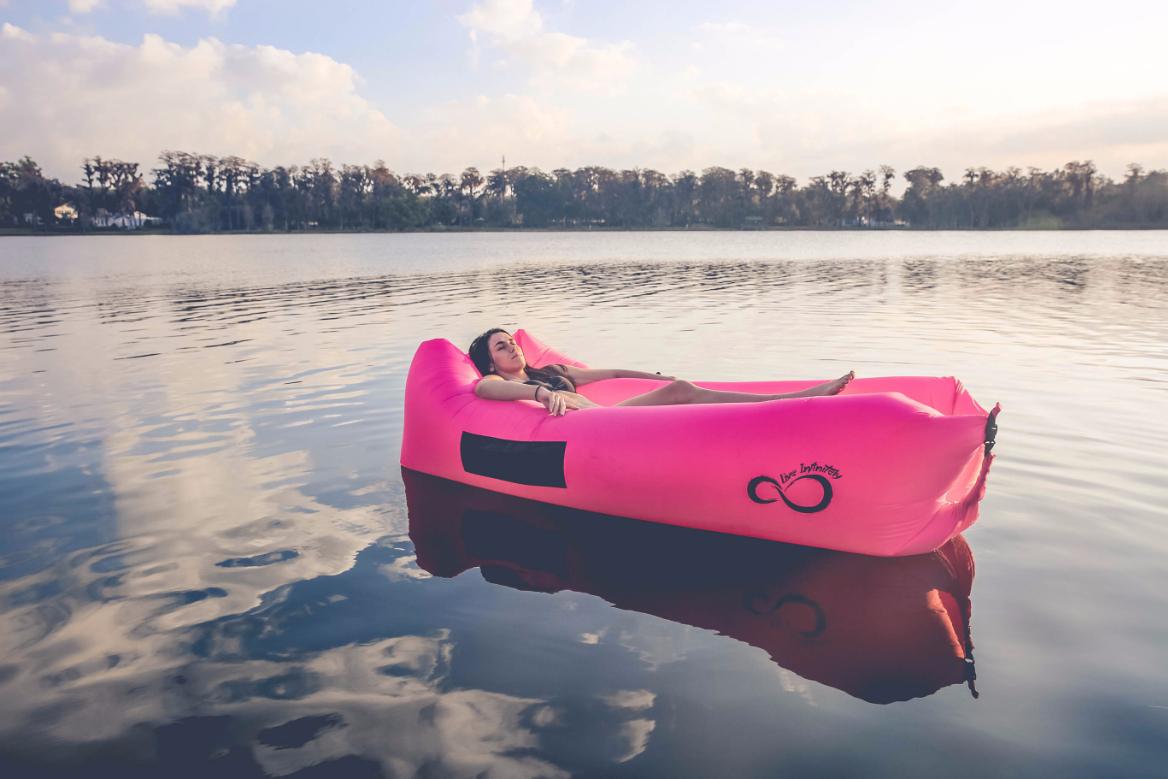 inflatable air lounger at lake