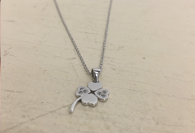 Kelly and Rose Sterling Silver & CZ Clover Necklace