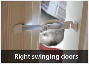 Right swinging door - prop door open for cat
