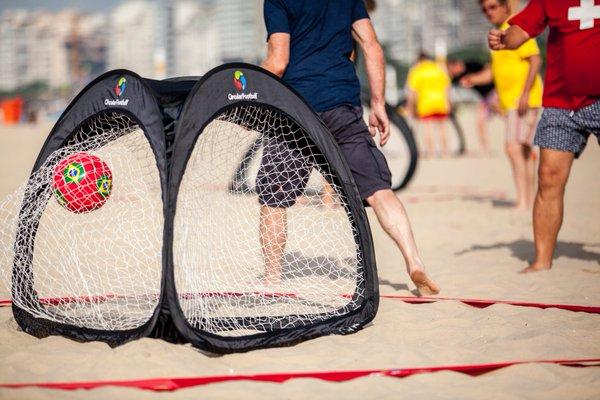 circular soccer on the beach