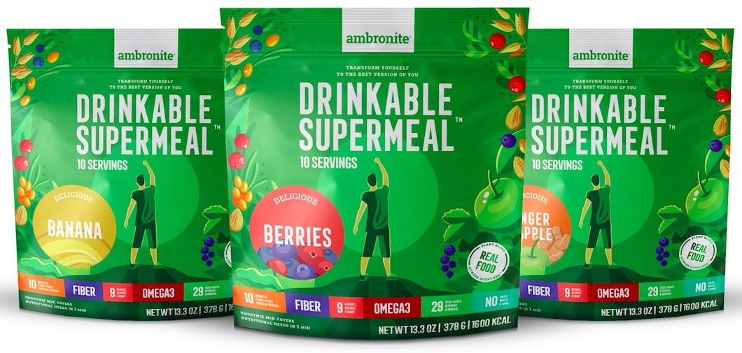 Ambronite Supermeal Flavors Banana Berries Ginger Apple