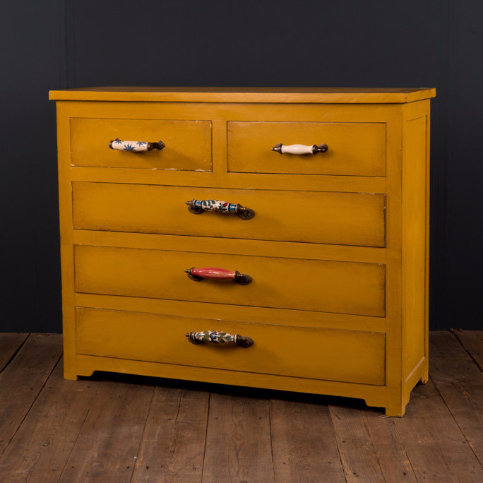 Yellow Drawer Chest with Mis-Matched Ceramic Handles