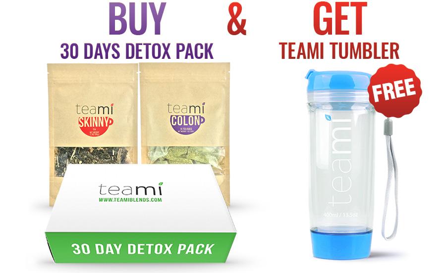 teami detox 30 days pack free blue tumbler