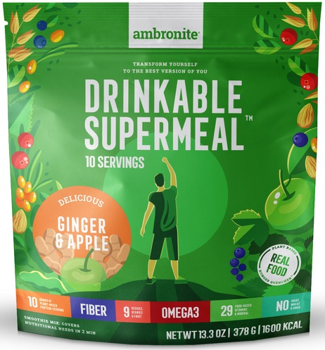 Ambronite Supermeal Meal Replacement Flavor Ginger Apple