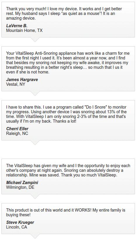 user reviews from vitalsleep