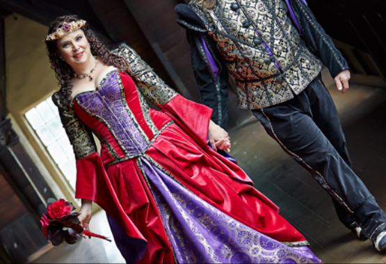 Sonya & Kevin's medieval themed wedding outfits are in the Powerhouse Museum's exhibition Love Is: Australian Wedding Fashions