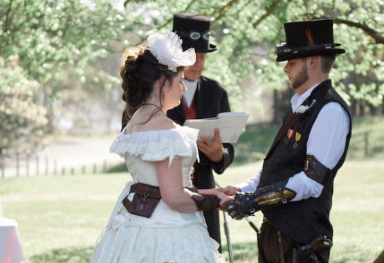 ivory steampunk wedding dresses are a specialty, made to measure