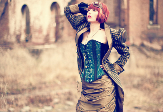 for a full steampunk wedding dress we have many options