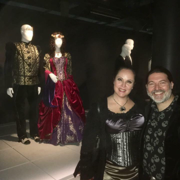 Lovely image of Sonya & Kevin with their bridal ensembles at the Powerhouse Museum