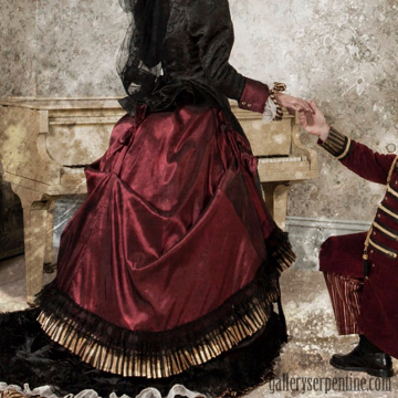 Example of the lush ruby gold and copper tones we love working with for steampunk bridal