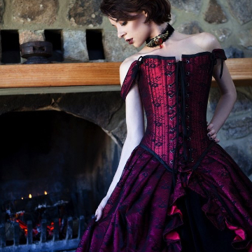Glowing red satin & black lace overlaid in the Parisian Gothique Gown