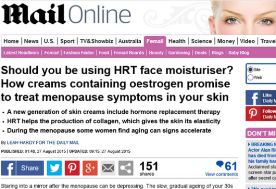 Daily mail Discover Phytomone Cosmetic HRT face Cream