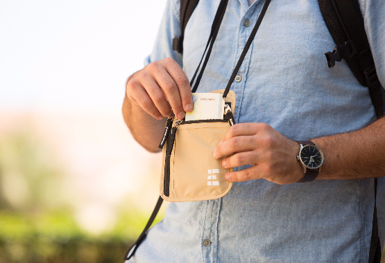 neck wallet lifestyle image for travelers