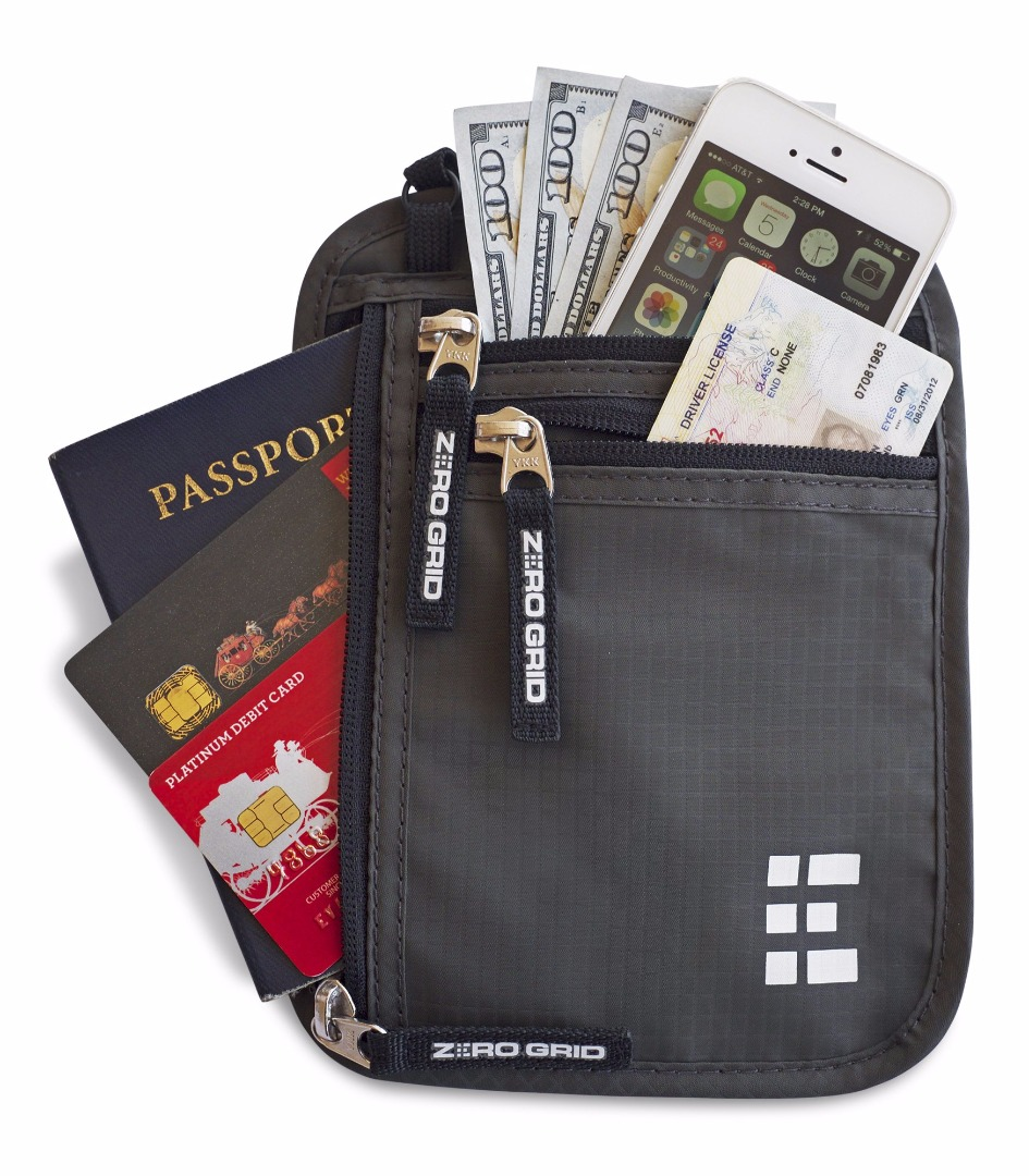 Zero Grid RFID blocking neck wallet and passport holder