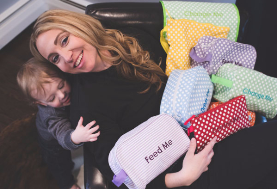 Danielle, with son and Easy Baby Travelers in Seersucker and Polka Dot