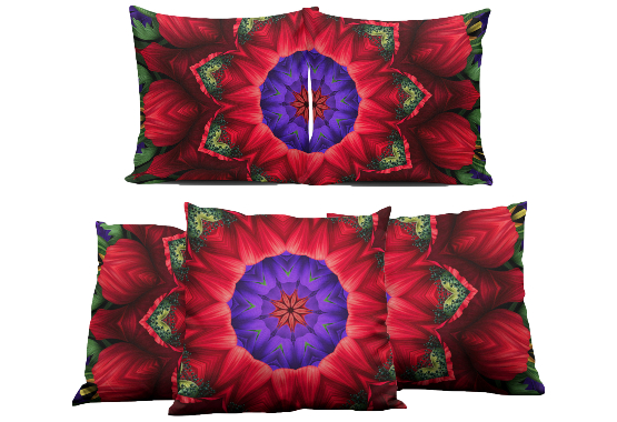 Red Flower Mandala Pillows