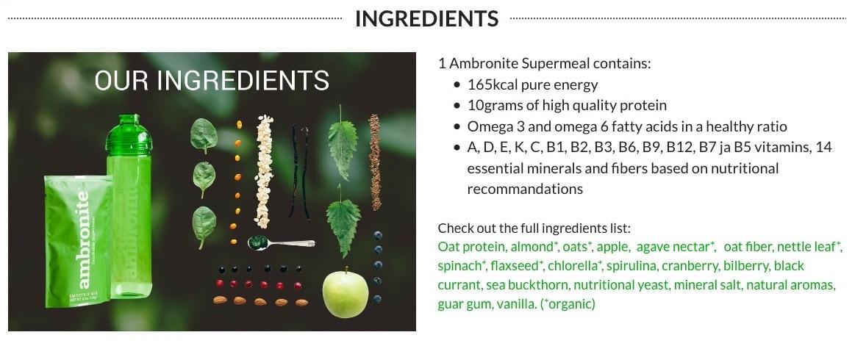 Ambronite Drinkable Supermeal Full Ingredients List