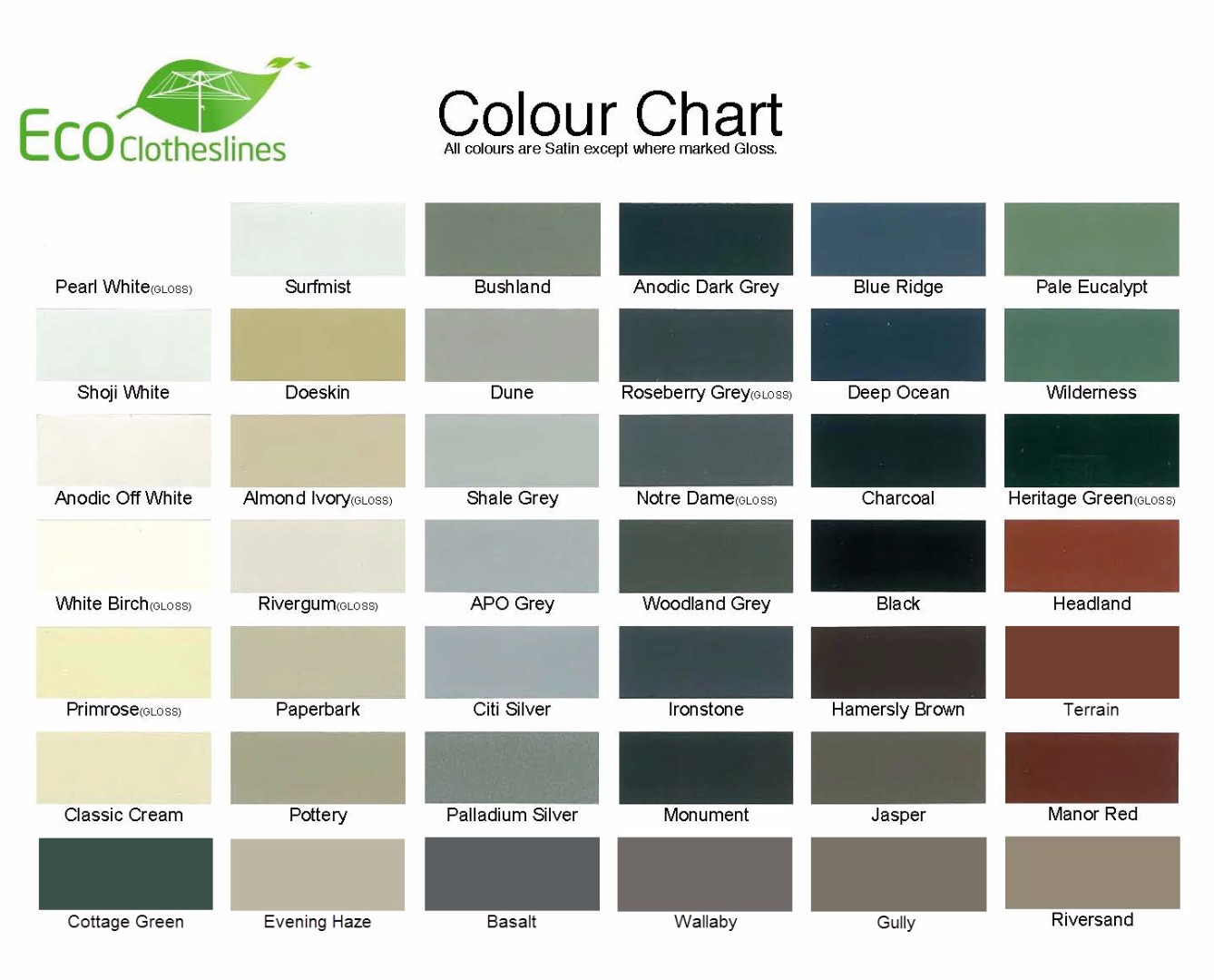 Eco clotheslines colorbond colour chart