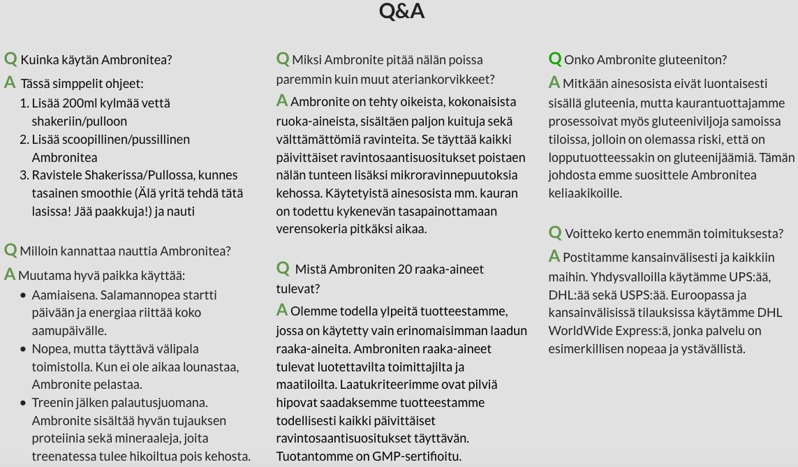 Ambronite kysymykset ja vastaukset