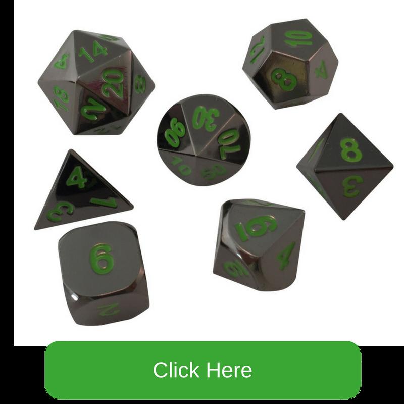 Shiny Black Nickel with Green Numbers Metal Dice | Black Dragon