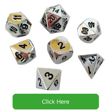 Chrome/Silver Color with Black Numbering Metal Dice