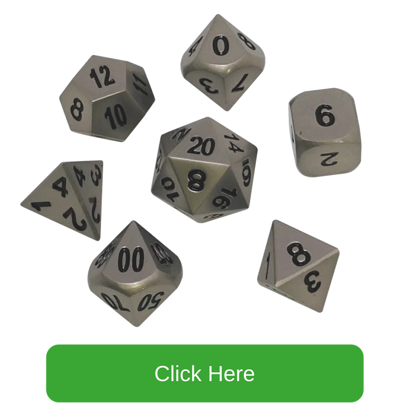 Dull Silver Color with Black Numbers Metal Dice | Executioner's Step