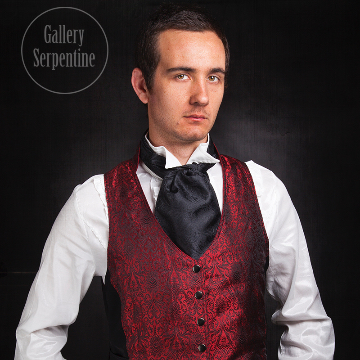 Red Silk Brocade Victorian Vest