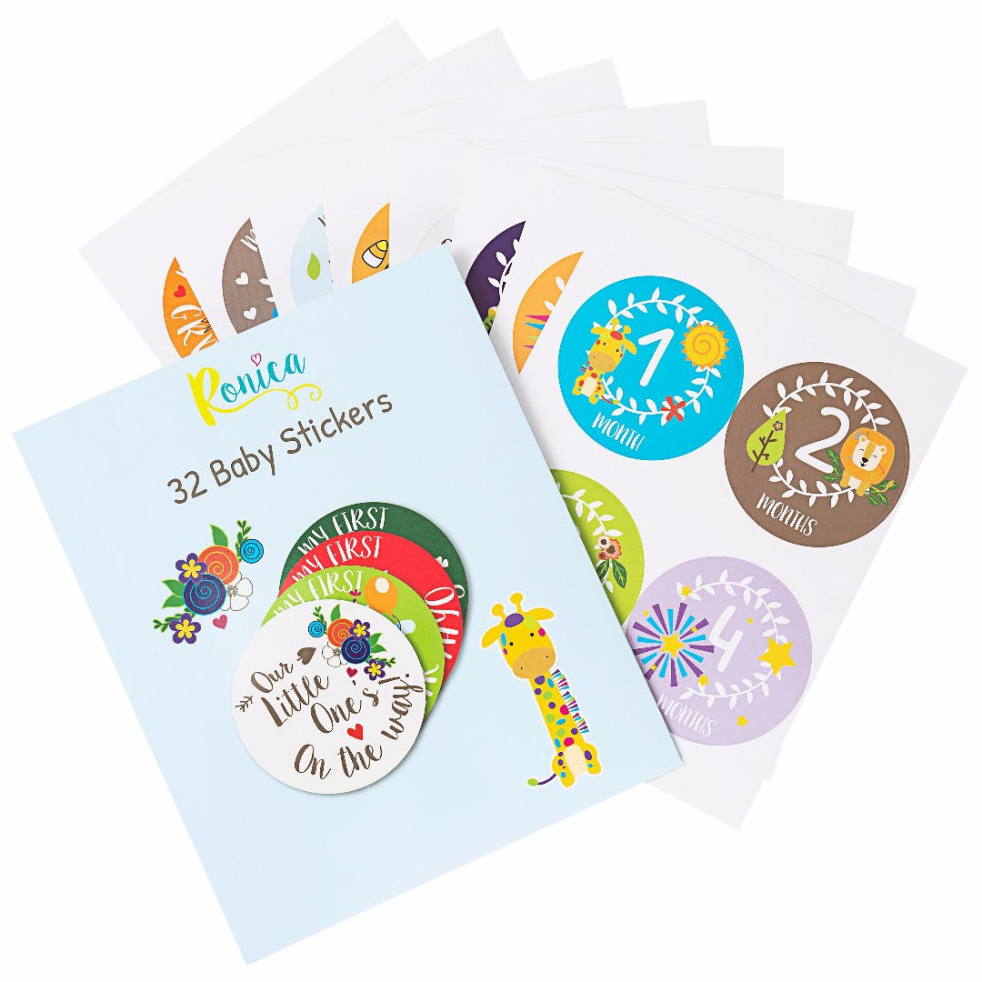 Ronica Baby Monthly Stickers Set of 32 Record Growth and Other Milestones
