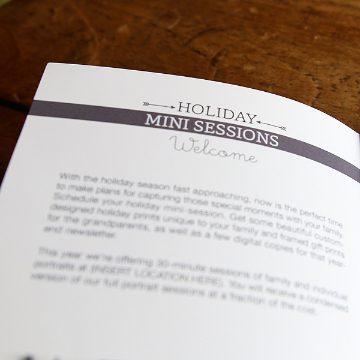 Holiday Mini Sessions Welcome Text for Mini Session Welcome Guide Template
