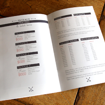 Pricing Spread for Mini Sessions Welcome Guide