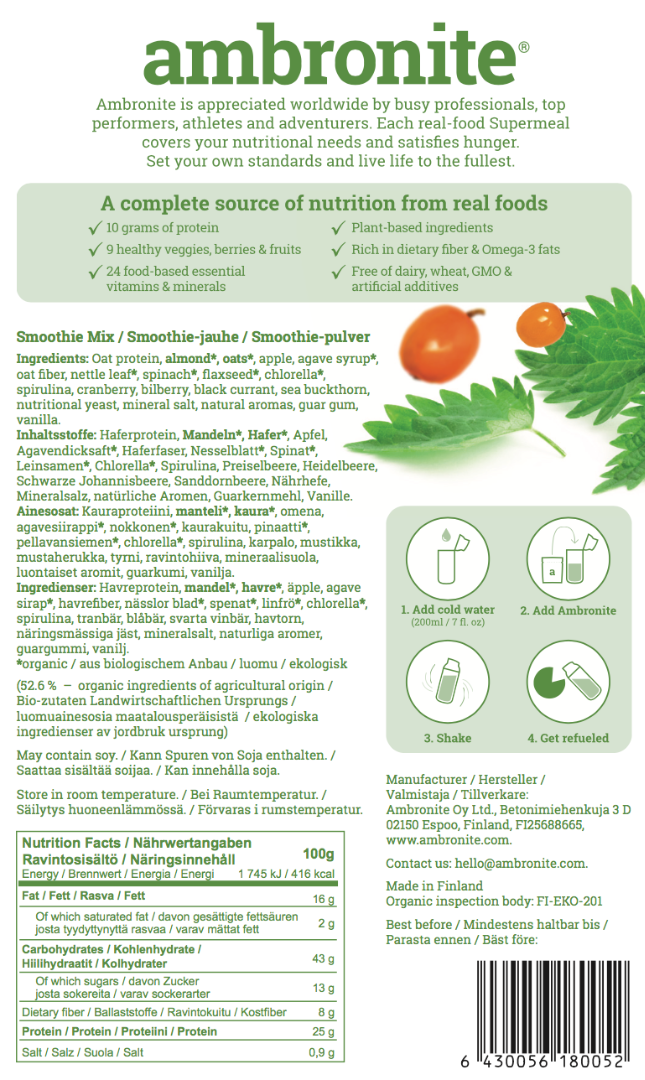 Ambronite Nutrilabel, Ingredients