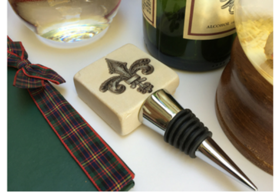 Marble Wine Bottle stopper with vintage inspired fleur de lis